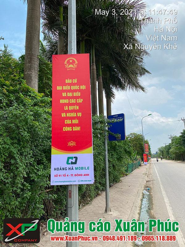 Treo Phướn chào mừng ngày bầu cử Đại biểu Quốc hội khóa XV và Đại biểu Hội đồng nhân dân các cấp nhiệm kỳ 2016-2021 huyện Đông Anh, Hà Nội.